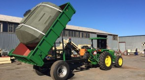 6 Ton tipping trailer when trailer in full tip position while testing in factory